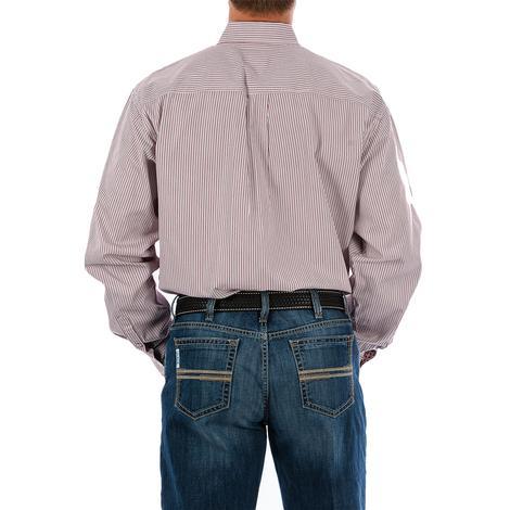 Cinch Mens Maroon Grey Stripe Long Sleeve Button Down Shirt