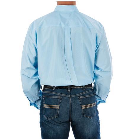 Cinch Mens Light Blue Tencil Stripe Long Sleeve Button Down Shirt