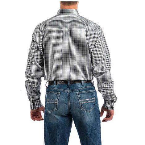 Cinch Green White Checkered Print Long Sleeve Button Down Men's Shirt
