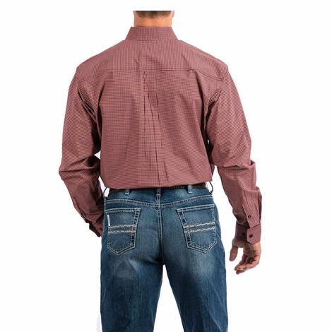 Cinch Coral Red Checkered Plaid Print Long Sleeve Button Down Men's Shirt