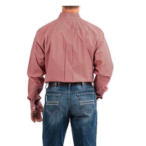 Cinch Coral Dash Print Long Sleeve Button Down Men's Shirt