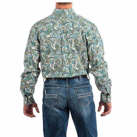 Cinch Turquoise Paisley Print Long Sleeve Button Down Men's Shirt
