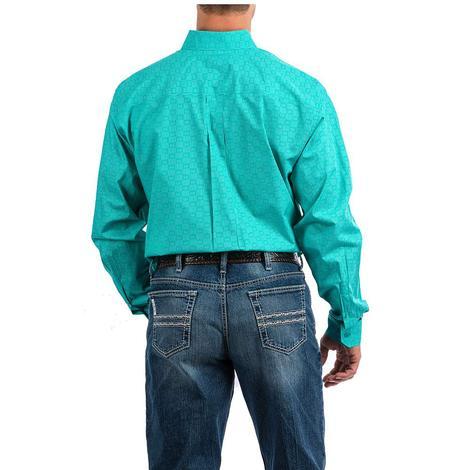 Cinch Turquoise White Print Long Sleeve Button Down Men's Shirt
