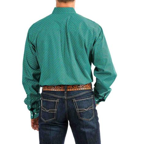 Cinch Turquoise White Dotted Print Long Sleeve Button Down Men's Shirt