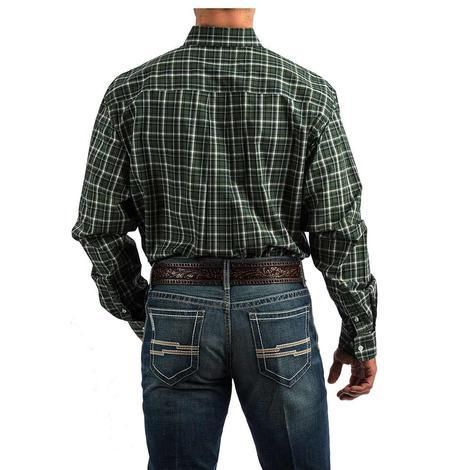 Cinch Green White Plaid Long Sleeve Button Down Men's Shirt