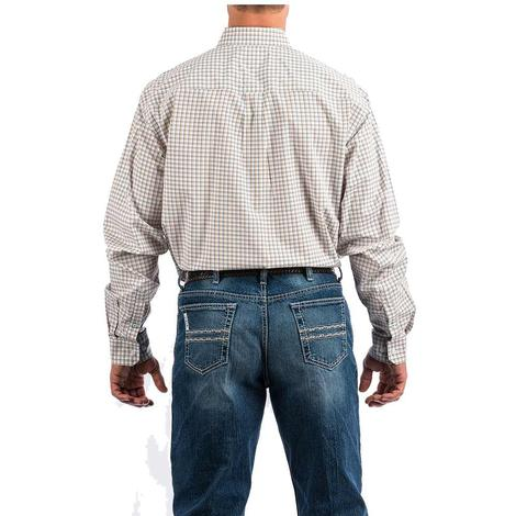 Cinch White Orange Plaid Long Sleeve Button Down Men's Shirt