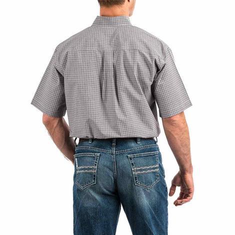 Cinch Purple Thin Plaid Short Sleeve Button Down Men's Shirt