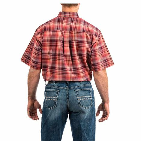 Cinch Coral Red Big Plaid Short Sleeve Button Down Men's Shirt