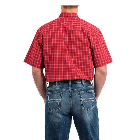 Cinch Red Big Plaid Short Sleeve Button Down Men's Shirt