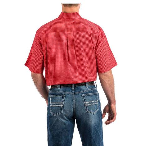 Cinch Coral Red Geo Print Short Sleeve Button Down Men's Shirt