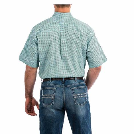 Cinch Light Blue Black Diamond Print Short Sleeve Button Down Men's Shirt