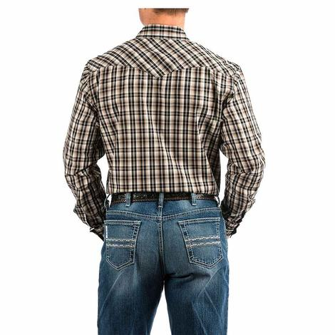 Cinch Brown White Plaid Long Sleeve Men's Snap Shirt