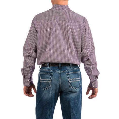 Cinch Purple Square Print Long Sleeve Snap Men's Shirt