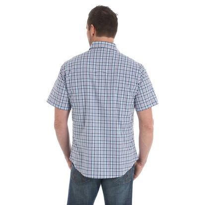Wrangler Mens Wrinkle Resistant Purple Navy Plaid Short Sleeve Western Shirt