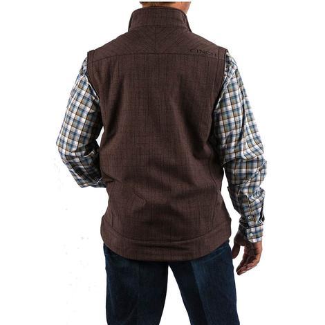 Cinch Mens Brown Textured Bonded Zip Up Vest