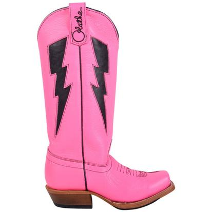 Olathe Girls Leather Cowboy Lightning Bolt Pink Western Boots
