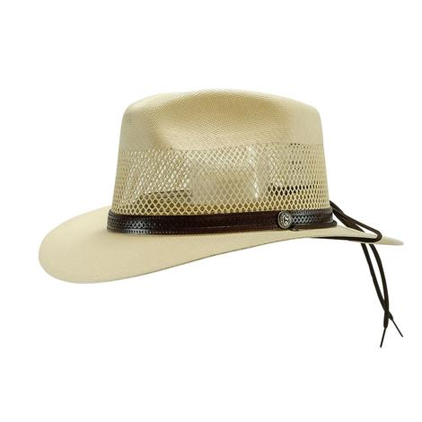 Stetson Afton 2.5Brim Stamped Leather Hatband Natural Straw Hat