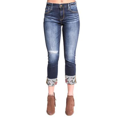 Driftwood Womens Distressed Knee Embroidered Cuff Skinny Jean