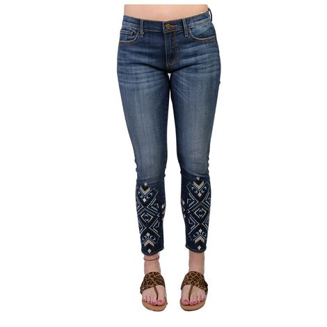 Driftwood Womens Marilyn Embroidered Ankle Crop Jeans