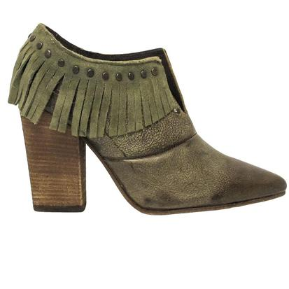 Circle G Womens Olive Green Studded Fringe Boots