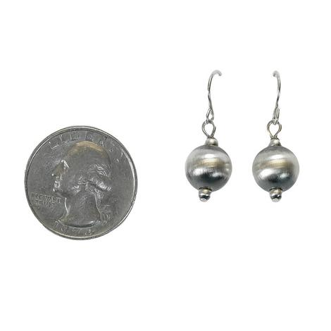 Large Navajo Pearl Drop Silver Earrings