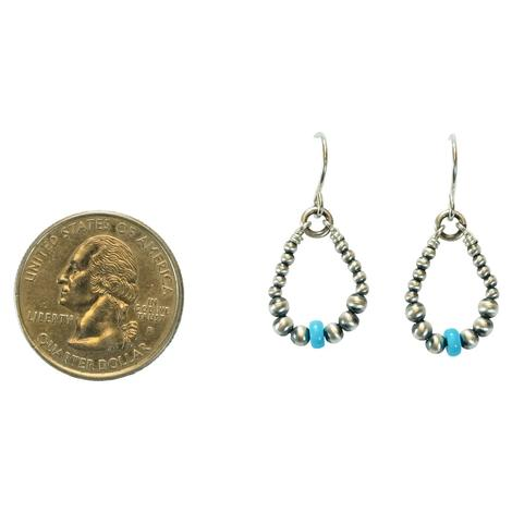Navajo Pearl with Turquoise Bead Small Teardrop Earrings