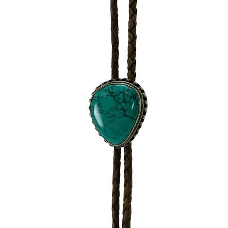 Turquoise Stone Brown Braided Bolo