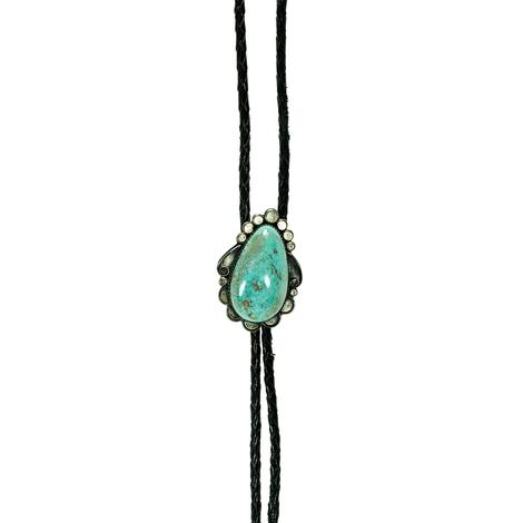 Vintage Black Bolo Tie with Turquoise Stone