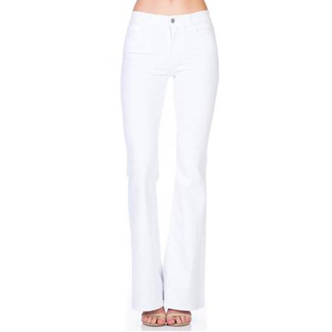 O2 Womens White Denim Mid Rise Flare Leg Jeans