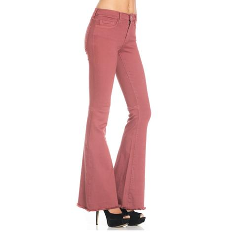O2 Mauve Mid Rise Flare Leg Jeans