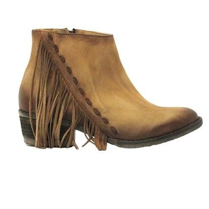 Circle G Womens Distressed Honey Side Fringe Bootie