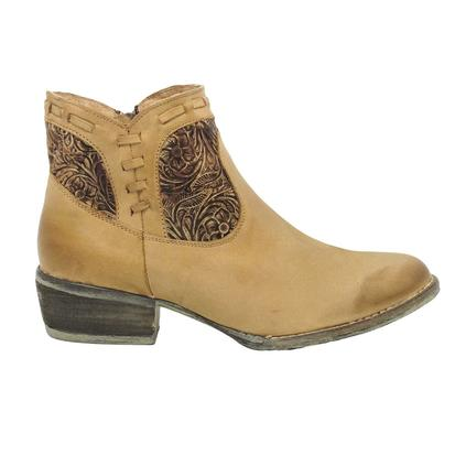 Corral Womens Brown Embossed Whip Stitch Shortie Boots
