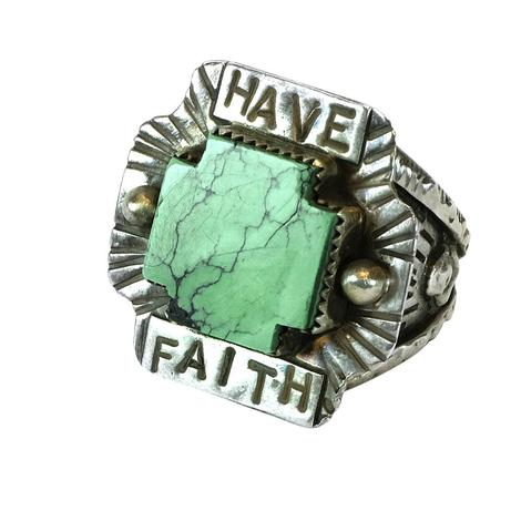 Sweet Bird Studio Have Faith Ring with Turquoise Center Cross
