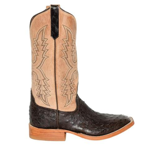 Rios of Mercedes Mens Brown Ostrich Mad Cat Tan Top Boots