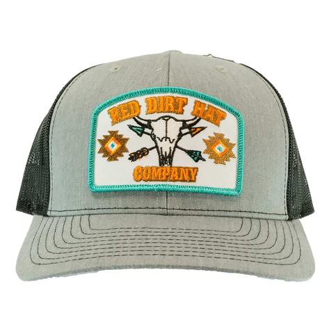 Red Dirt Hat Co Buffalo Skull Heather Gray Black Meshback Cap