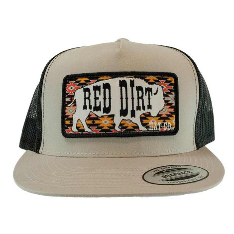 Red Dirt Hat Co Great White Buffalo Silver Black Meshback Cap