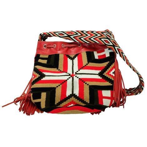 Red Aritstic Hand Woven Bag with Sequind Front