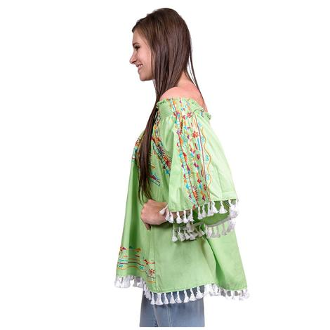 Womens Lime Green Off Shoulder Floral Embroidered Tassel Blouse