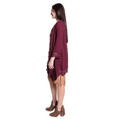 Lace Trimmed Womens 3/4 Sleeve Wine Cardigan