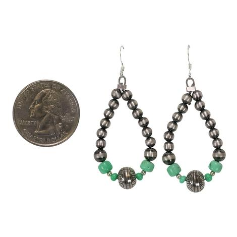Navajo Pearl and Turquoise Drop Earrings