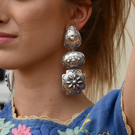 Sterling Silver Three Concho Dangle Earring