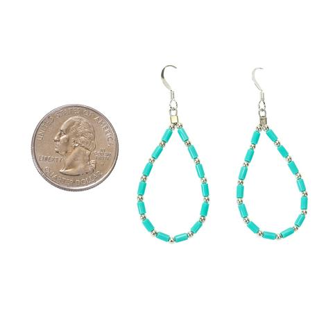 Turquoise and Silver Drop Style Earrings