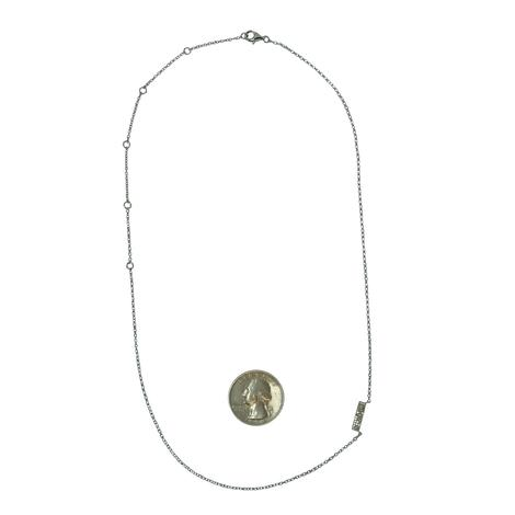 Sterling Silver with Rough Cut Diamonds Short Bar Necklace