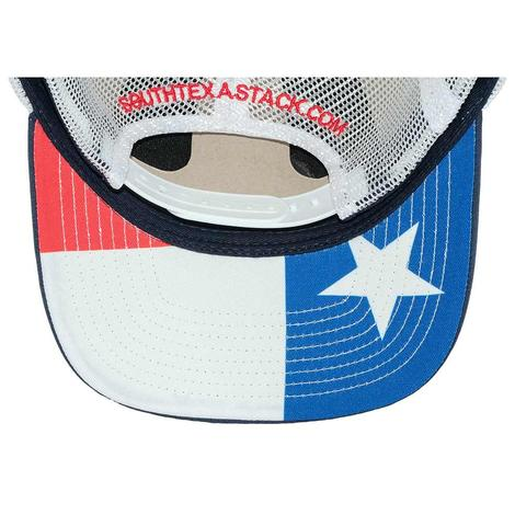 STT Navy White Leather Patch Mesh Back Cap with Texas Flag under Bill