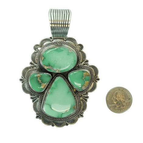 Sterling Silver and Light Green Turquoise Quadruple Stone Angel Pendant
