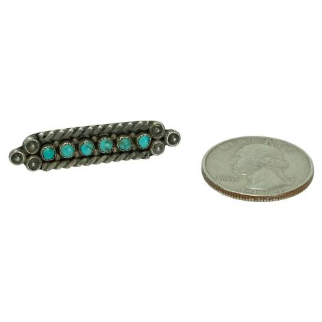 Vintage Silver and Turquoise Bar Pin