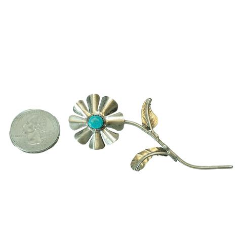 Sterling Silver Single Bloom Wildflower with Turquoise Stone Pin