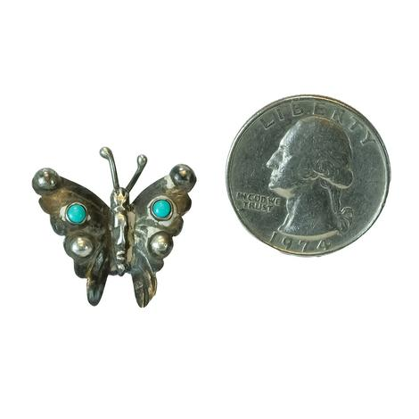 Sterling Silver and Turquoise Vintage Butterfly Pin