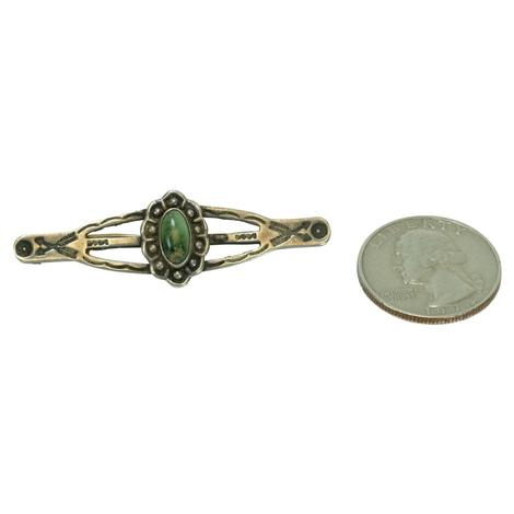 Vintage Silver and Oval Green Turquoise Pin