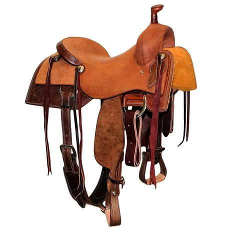 STT Ranch Cutter Dark Oil Roughout Saddle with Tooled Floral Skirt